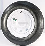 Set of 2 12'' Trailer Tires Rims 530-12 5.30-12 5.30 x 12 LRC 5 Lug/4.5'' Hole Bolt White Spoke Wheel