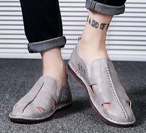 Pieds De Plein Cut Ensembles Chaussures En Décontractées Mode Baotou Shoeszhangm Paresseux Cuir Pour Taille dérapant Creux D'été Plage Air Hommes Anti Gris Sandales Grande Low fIddqU