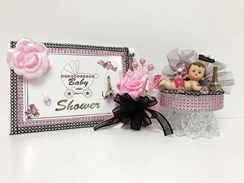 Paris Baby Shower Its a Girl Theme Mom to Be Guest Book Corsage Cake Topper