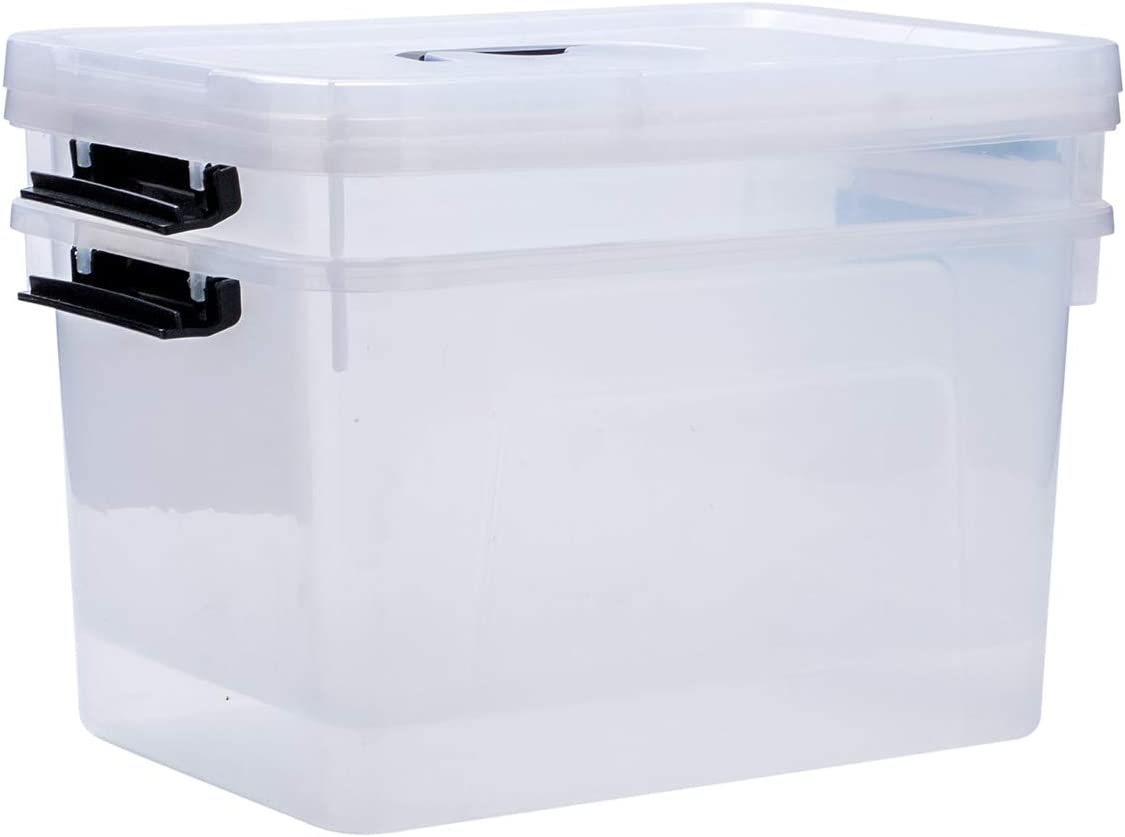 Clear Storage Latch Box 2-Pack 16 Quart Plastic Box//Bin with Lid and Handles