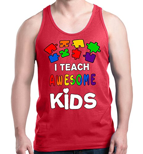 Shop4Ever I Teach Awesome Kids Men's Tank Top Autism Awareness Tank Tops XX-LargeRed 0 from Shop4Ever