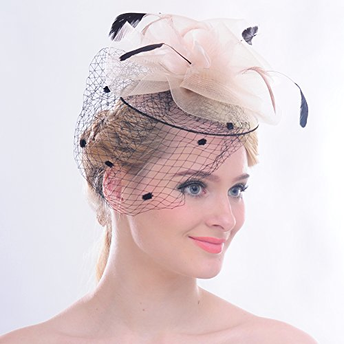 FAYBOX Elegant Silk Flower Feather Dot Net Fascinator Hat Hair Clip BlushPink by FAYBOX