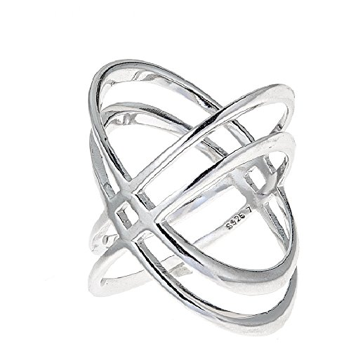 (925 Sterling Silver Double 'X' Criss Cross Ring, For Women And Girls Size 6'' 7'' 8'')