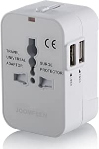 JOOMFEEN Travel Adapter, Worldwide All in One Universal Power Wall Charger AC Power Plug Adapter with Dual USB Charging Ports for USA EU UK AUS Cell Phone Laptop-White