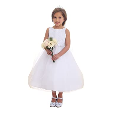 56fa0c6ce Calla Collection Little Girls White Lace Top Tulle Flower Girl Dress 2T