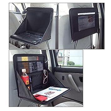 Bandeja plegable para coche perfecta para trabajar con el ordenador portátil ,para comer, merendar, y para trayectos largos, fácil de plegar y desplegar: ...