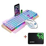 Gaming Keyboard M938 LED Backlit USB Ergonomic Gaming Keyboard + Gamer Mouse Sets + Mouse Pad - for Windows 10/Windows 7/ Windows 8/ Vista/ XP/ Mac OS or Latest System (Gold)