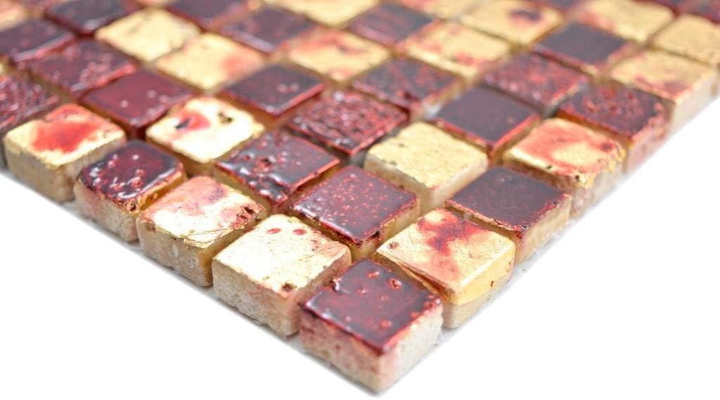 Mosaik Stein Resin gold rot Wand K/üche Fliesenspiegel Mosaikfliese Mosaikmatte Mosaikplatte