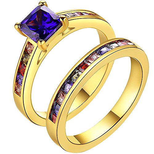 LWLH Womens 18K Yellow Gold Purple CZ Half Eternity Wedding Ring Set Multicolor Stone Band for Bridal Szie 8 (Yellow Color Multi Gold Stone)