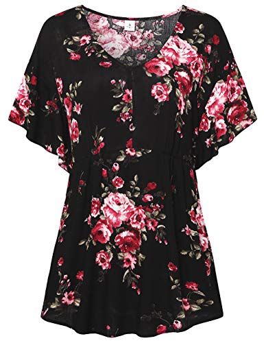 - FANSIC Women Floral Print Tops,Casual Short Sleeve Empire Waist Babydoll V Neck Tunic Blouses Yellow Flower X-Large