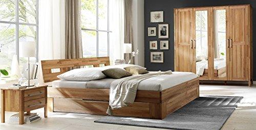 6-6-5-2155: schönes Schlafzimmerprogramm AAS - Kernbuche vollmassiv geölt - Kleiderschrank 4-trg. mit 2 Spiegel, Doppelbett 180x200cm LF, Schubkastenset für das Doppelbett, 2 Nachtkonsolen