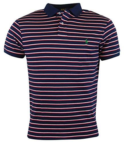 Polo Ralph Lauren Mens Custom Fit Striped Polo Shirt - XXL - Navy