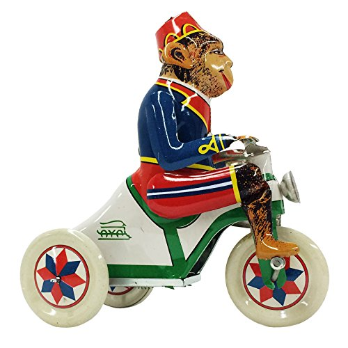 Wind Up Tricycle (Vintage Style Wind-up Monkey on Bike Tin Toy)