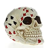 The Geeky Days Skull Gambler Playing Cards Poker Face Tattoo Skull Gambling Skeleton Ace Cards Figurine Statue Halloween Horror Decoration