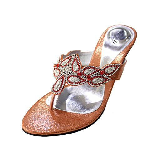 W&W Women Ladies Evening Fashion Sandal Comfort Slip-On Diamante Wedding Party Block Heel Shoes Size 4-10(PERK) Orange yCjTVZteu