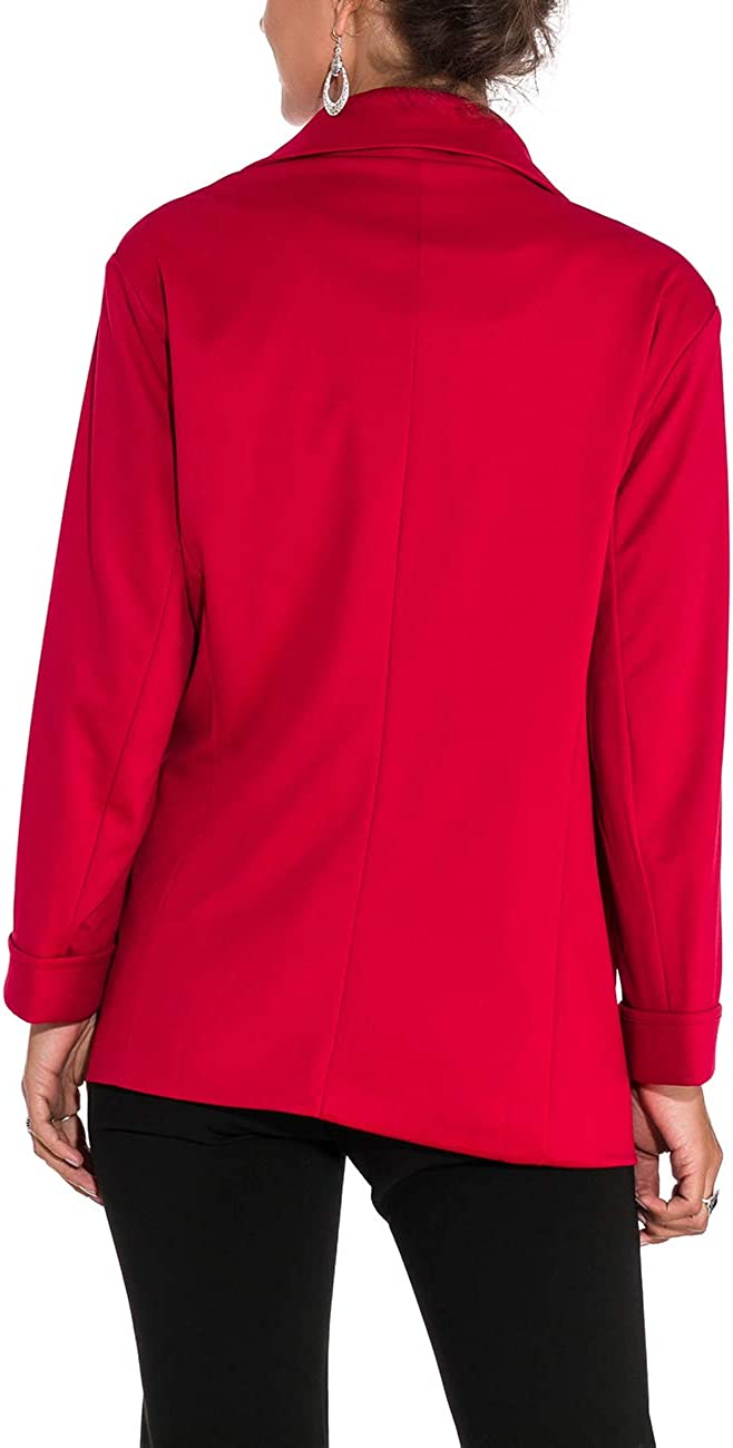 MUCOO Women Casual Boyfriends Blazer 3/4 Sleeve Open Front Pocket Office Work Business Suit Jacket A-peach Red