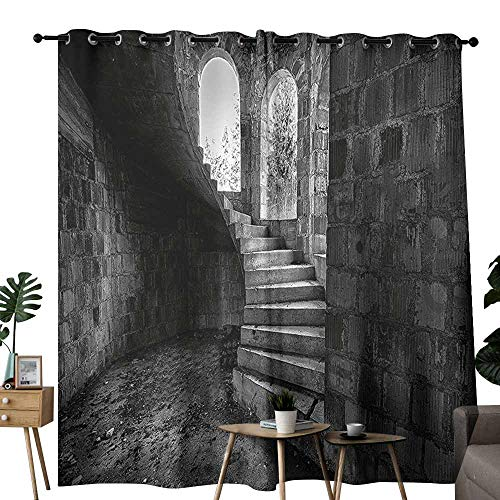 (Room Darkening Wide Curtains Rustic Circular Medieval Brick Staircase Vacant Castle Architecture Art of Photography Print Grey Blackout Draperies for Bedroom Window W108 xL84)