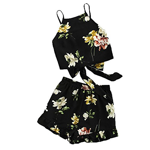 2PC Women's Boho Ruffle Floral Print Spaghetti Strap Crop Cami Top with Shorts Sets (Black, L) ()