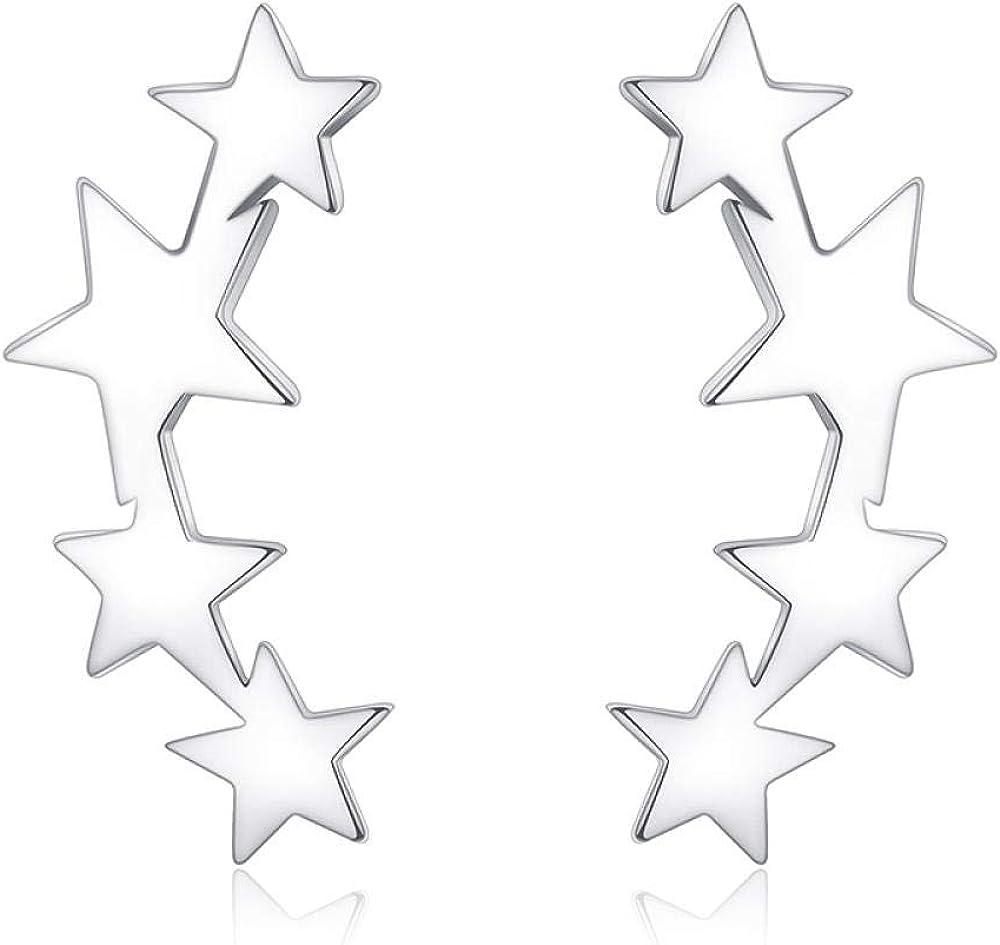 Jyuter12 Pendientes De Estrella Para Mujer Pendientes De Oro Puro Para Mujer