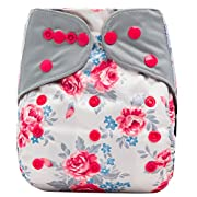 HappyEndings Contoured All In One Charcoal Bamboo Cloth Diaper (+Pocket)  Tea Time