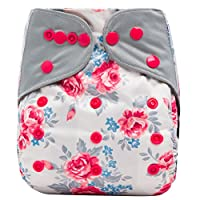 "HappyEndings Contoured All In One Charcoal Bamboo Cloth Diaper (+Pocket) ""Tea..."