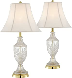 Cut glass urn with brass accents table lamp crystal lamp amazon cut glass urn with brass accents table lamp set of 2 aloadofball Image collections