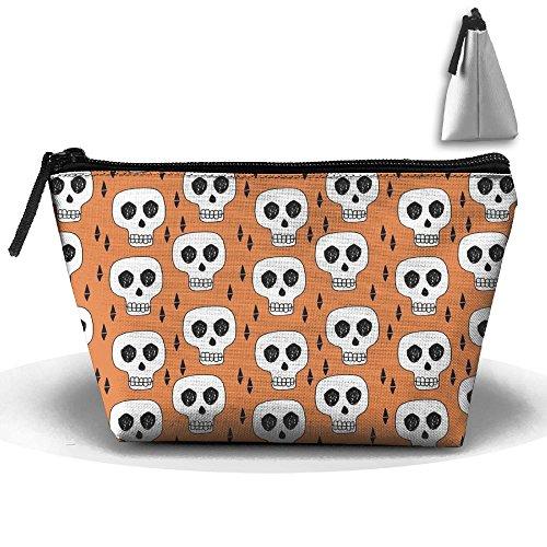 SDEYR79 Travel Makeup Skulls Orange Creepy Scary Kooky