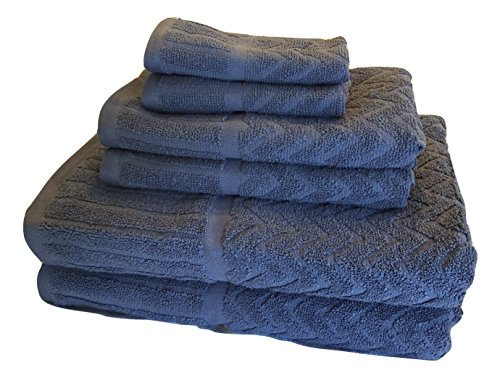 Metro 100% Cotton 6-piece Chevron Towels Set (Smoke (Softie Golf)