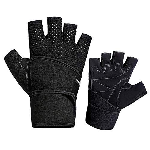 DCRYWRX Bike Cycling Gloves Shockproof Gel Pads Gym Workout Half Finger Short Sports Gloves Accessories for Men/Women,Black,M