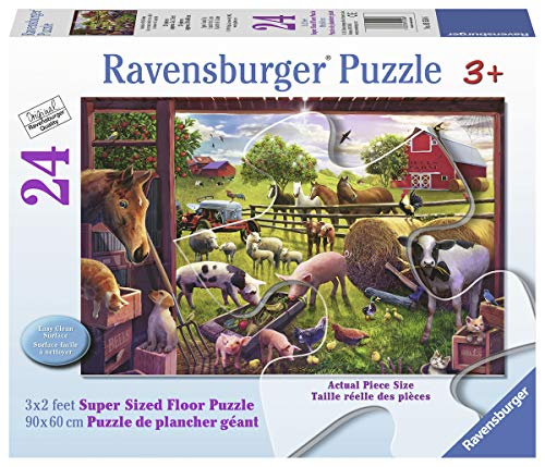 (Ravensburger 05558 Animals of Bells Farm, 24 Piece Giant Floor Puzzle for Kids, Every Piece is Unique, Pieces Fit Together Perfectly)
