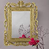 Home Sake French Carved Royal Vintage Decorative Wooden Wall Decor Mirror, Antique Classic Gold |Home Decor