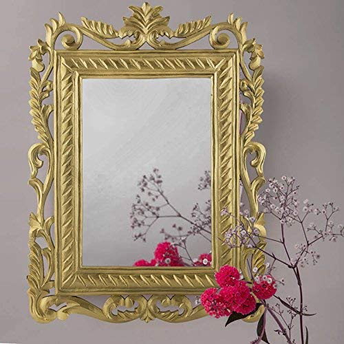 French Carved Royal Vintage Decorative Wooden Wall Decor Mirror, Antique Classic Gold |Home Decor| Home Sake