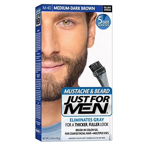 Just For Men Mustache and Beard Brush-In Color Gel, Medium Dark Brown (Pack of 3)