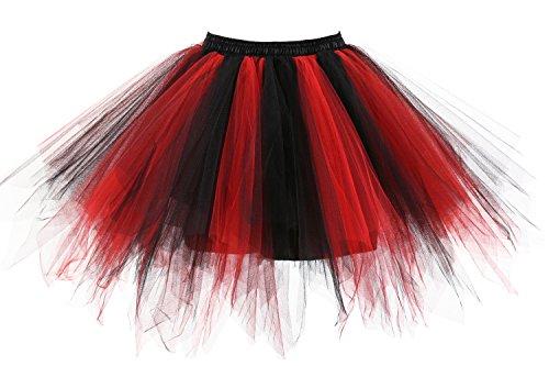 Poplarboy Women's Mini colorful Ballet Petticoat Skirt Tulle Rainbow Multi Layer Prom Evening Skirts Black-Red