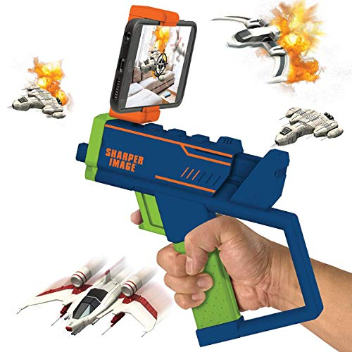 Sharper Image Augmented Virtual Reality Toy Blaster, Complete Video Gaming System, Connects to Smartphone via Bluetooth, Use with Free AR App, Games for Teens and Kids, Lime Green/Blue/Orange
