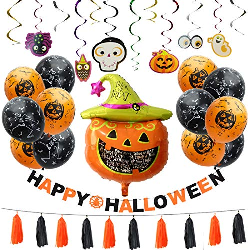 Free Yoka Halloween Party Decorations Kit - Pumpkin Themed Supplies Banner, Balloons, Hanging Swirls, Paper Tassels