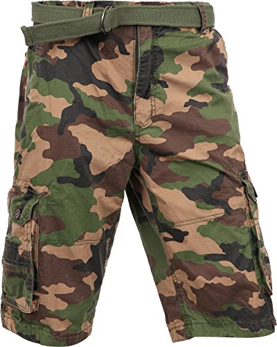 MP Mens Premium Cargo Shorts With Belt Outdoor Twill Cotton Loose Fit Multi Pocket Pants (42, Wood Camo)