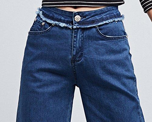 Loisirs Vintage Haute ZhuiKunA Denim Taille Ample Jean Pattes DElphant Bleu Femmes xxA84P