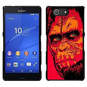 // PHONE CASE GIFT // Duro Estuche protector PC Cáscara Plástico Carcasa Funda Hard Protective Case for Sony Xperia Z3 Compact / Red Monkey Gorila /