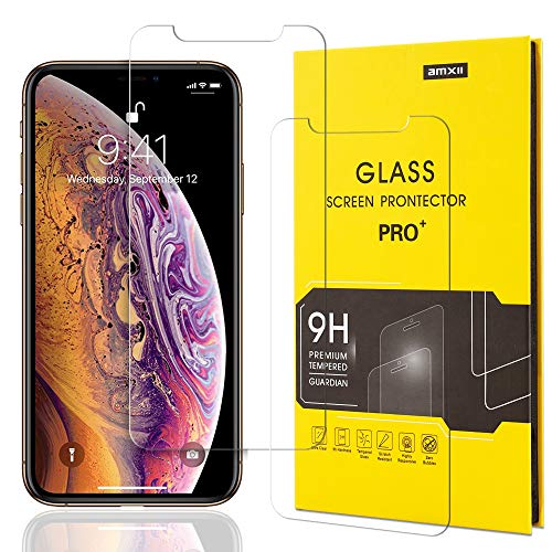 iPhone Xs Max Screen Protector,Hd Tempered Glass Cover Film,for Apple Phone 6.5 inch Display,9H Hardness,2 Pack,Clear