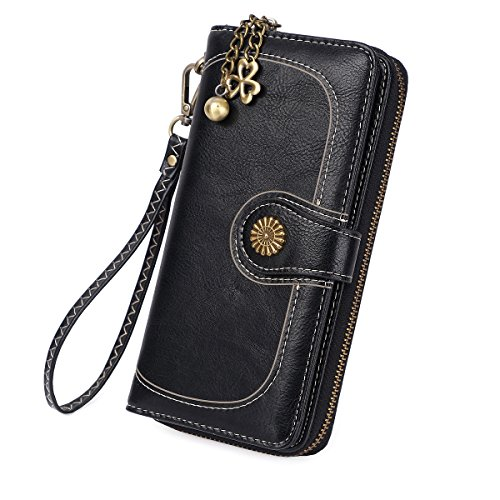 Zg Plenty Roomy Zip Around Wallet Clutch Purse with Tassel and Strap - Black -