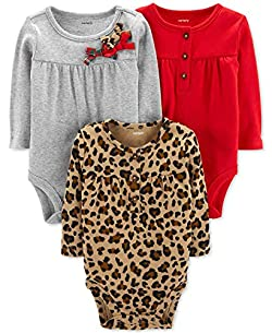 Carter's Unisex Baby Long-Sleeve Bodysuits (9 Months, 3 Pack Holiday)