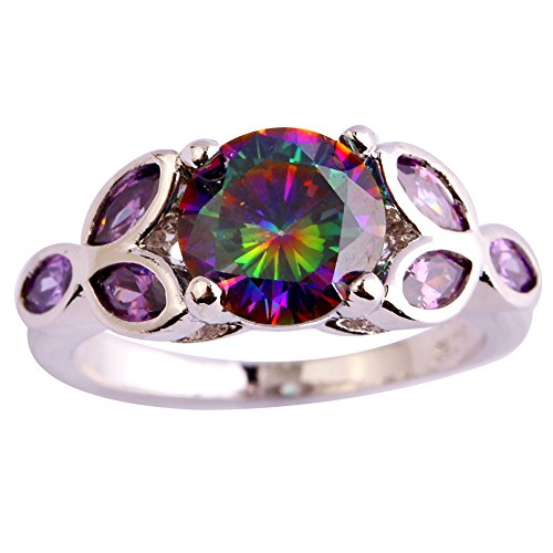 Psiroy 925 Sterling Silver Created Rainbow Topaz Filled Promise Ring for Her Size 9
