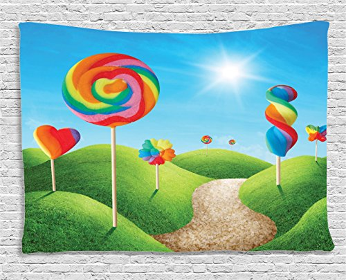 Fantasy House Decor Tapestry by Ambesonne, Fantasy Candy Land With Delicious Lollypops Bright Sun Cheering Illustration, Wall Hanging for Bedroom Living Room Dorm, 80 W X 60 L, Green Blue (Candyland Room Theme)