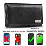 lg 3 accessories - LG Stylo 3 Holster, J&D PU Leather Holster Pouch Case with Belt Clip, Leather ID Wallet Case for LG Stylo 3 (Only Fits with Regular & Bulky Case On - OtterBox/Lifeproof/Spigen/Other Case) - Black