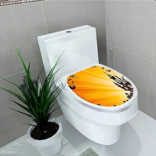 Analisa A. Houk Bathroom Toilet Halloween Scene Haunted Castle Bats Ghost Theme Pumpkins Orange Black Vinyl Decal Sticker W11 x L13]()