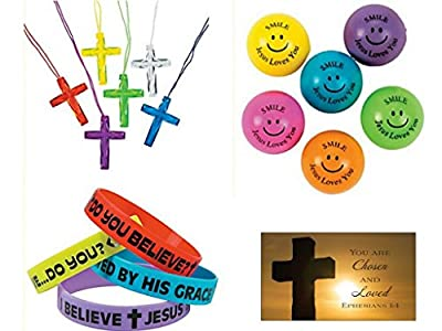 145 Piece Religious Christian Theme Party Favors Gift Bundle Set for Kids from Bizzybecca