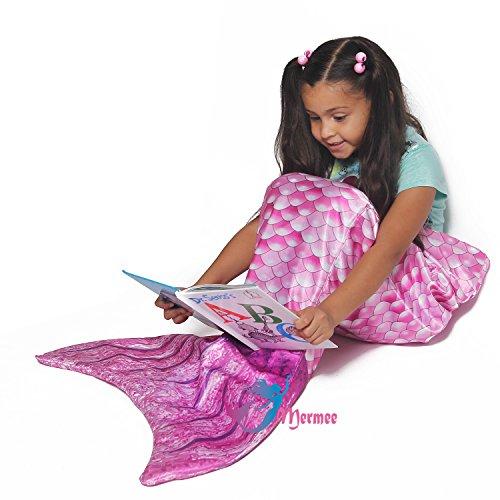 MERMEE - Girl's (3-12 years old) Pink Mermaid Tail Blanket - Super Soft All Season Cozy Blanket - Vibrant Scales