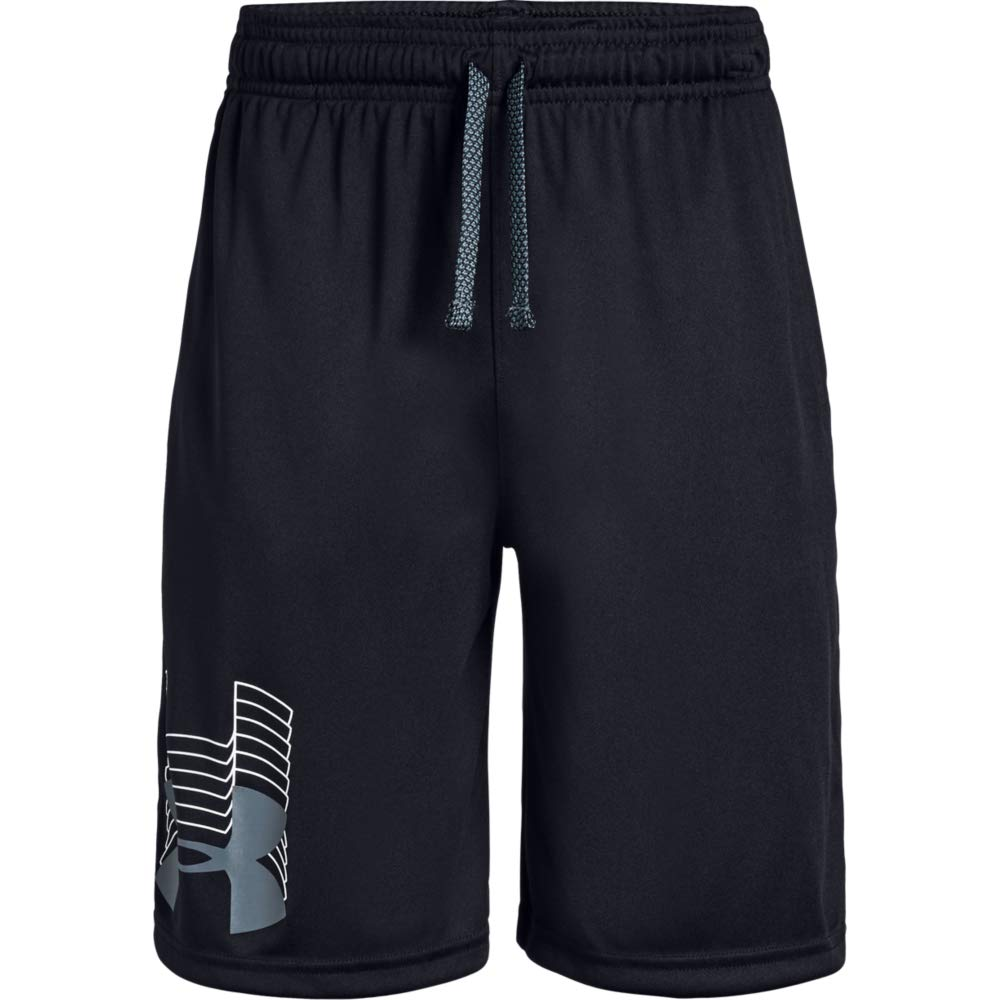Under Armour boys Prototype Logo Shorts, Black (003)/Pitch Gray, Youth X-Small