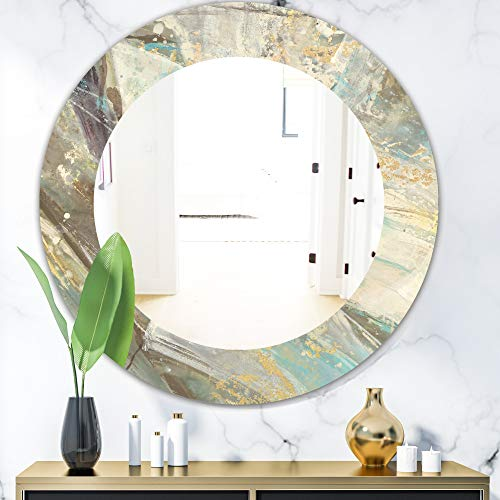 Designart 'Blue Geometric Water' Modern Wall Mirror Framed Mirrors, Large Oval or -